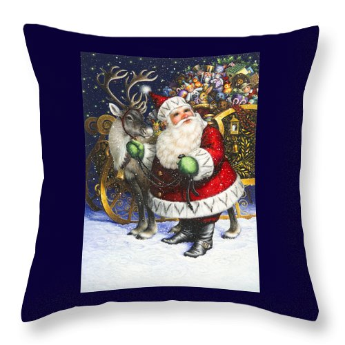 Santa Claus Throw Pillow featuring the painting Blitzen by Lynn Bywaters