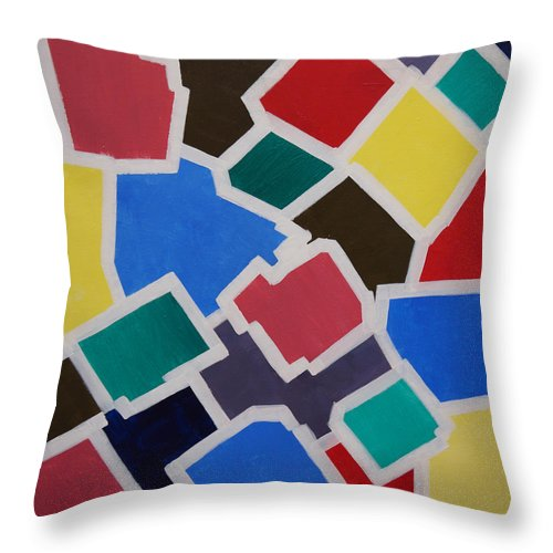 Acrylic Throw Pillow featuring the painting Outside the Box by Sergey Bezhinets