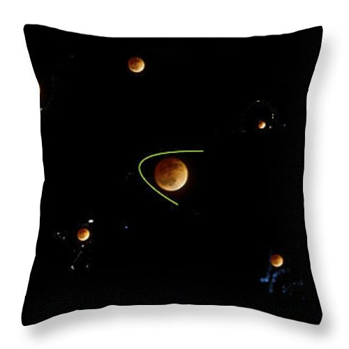 Blood Throw Pillow featuring the photograph Blood Moon Collage And Digital Paint by SC Heffner