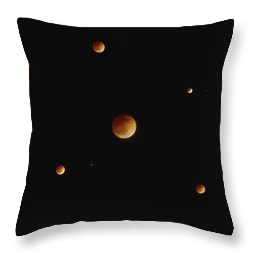 Blood Throw Pillow featuring the photograph Blood Moon Collage by SC Heffner
