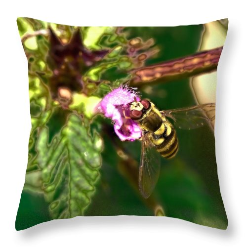 Photographt Throw Pillow featuring the photograph Bloom-fly Leif Sohlman by Leif Sohlman