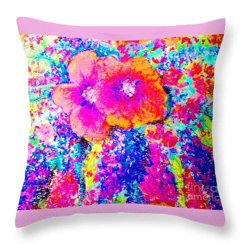 Rainbow Colored Flowers Throw Pillow featuring the painting Bloom Where You're Planted by Hazel Holland