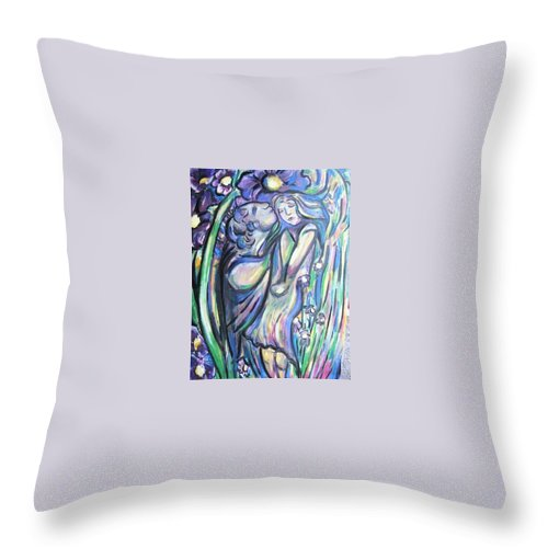 Female Throw Pillow featuring the painting Bloomed by Dawn Fisher