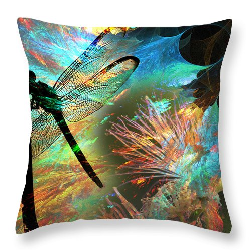 Dragon Fly Throw Pillow featuring the photograph Bloomfly by Greg Sharpe