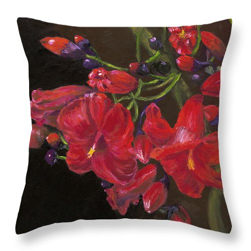 Red Throw Pillow featuring the painting Bloomin' Red by Maria Gibbs