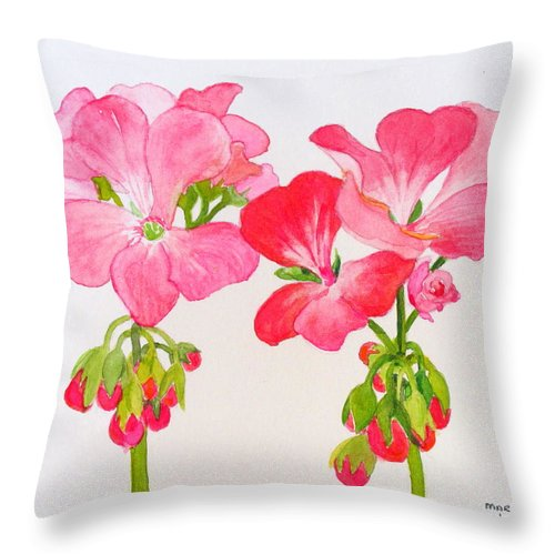 Blooms Throw Pillow featuring the painting Blooming 1 by Mary Ellen Mueller Legault