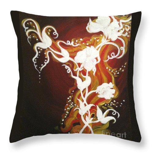 Abstract Throw Pillow featuring the painting Blooming Flame by Julia Dangaran
