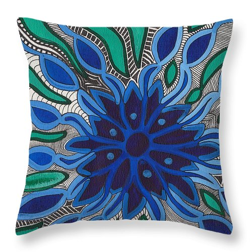 Blooming In Blue Throw Pillow featuring the painting Blooming In Blue by Barbara St Jean
