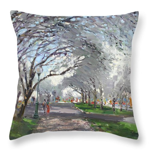Blooming Trees Throw Pillow featuring the painting Blooming In Niagara Park by Ylli Haruni
