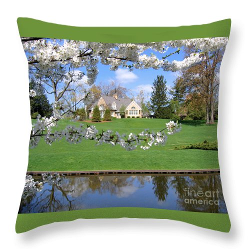 Spring Throw Pillow featuring the photograph Blossom-framed House by Ann Horn