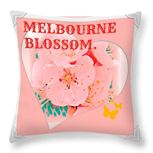 Melbourne Throw Pillow featuring the digital art Blossom In Melbourne by Meiers Daniel