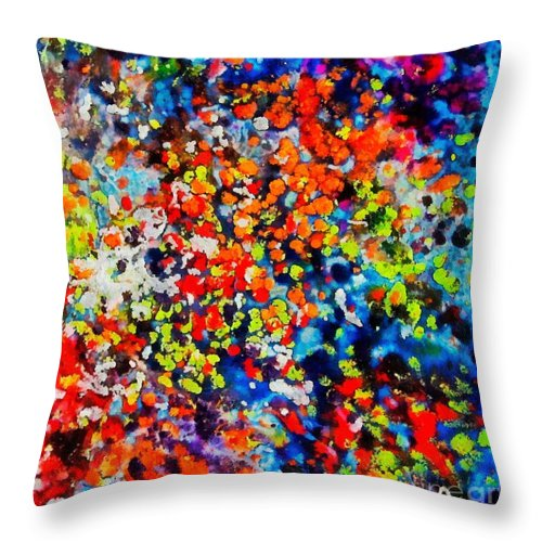 Flowers Throw Pillow featuring the painting Blossoming Meadow by Dragica Micki Fortuna