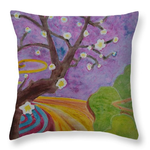 Tree Throw Pillow featuring the mixed media Blossoms 6 by Karen Coggeshall