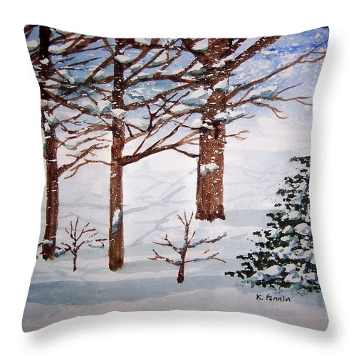 Winter Throw Pillow featuring the painting Blowing Snow by B Kathleen Fannin