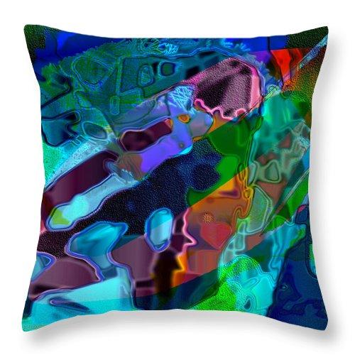 Blue Throw Pillow featuring the digital art Blu Slot by Dee Flouton