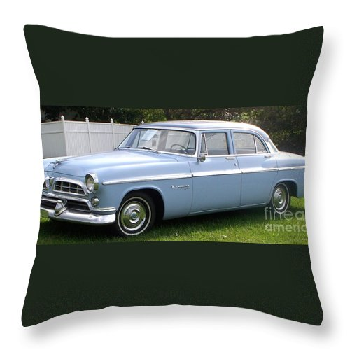 Blue Car Throw Pillow featuring the photograph Blue 1955-56 Chrysler by Eric Schiabor