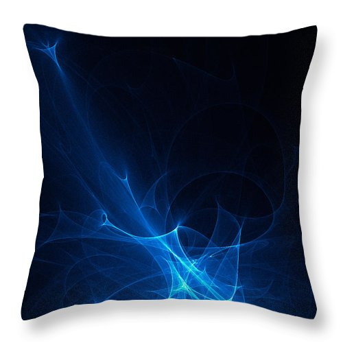 Fractal Abstract Throw Pillow featuring the digital art Blue Abstract by Ann Garrett