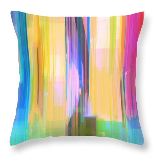 Abstract Throw Pillow featuring the digital art Blue Abstract by Rafael Salazar