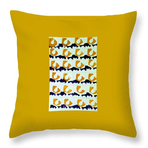 Abstract Block Design Throw Pillow featuring the mixed media Blue And Gold Notecard by Suzanne Berthier