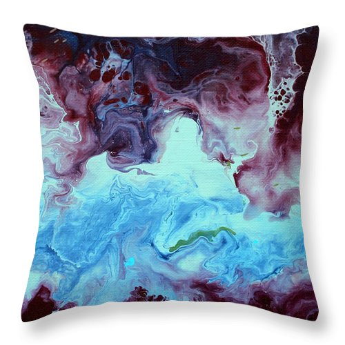 Blue Throw Pillow featuring the painting Blue And Purple Abstract by Liz Moran