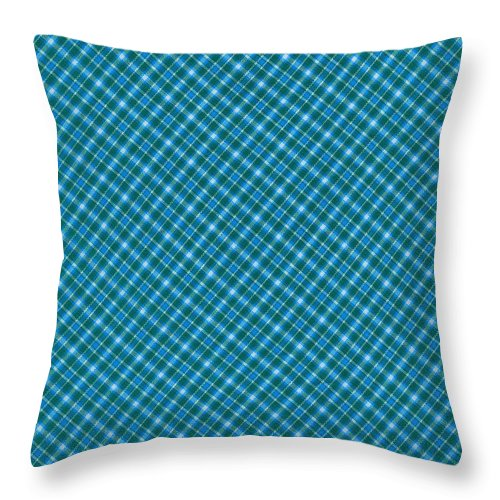 Pattern Throw Pillow featuring the photograph Blue And Teal Diagonal Plaid Pattern Textile Background by Keith Webber Jr