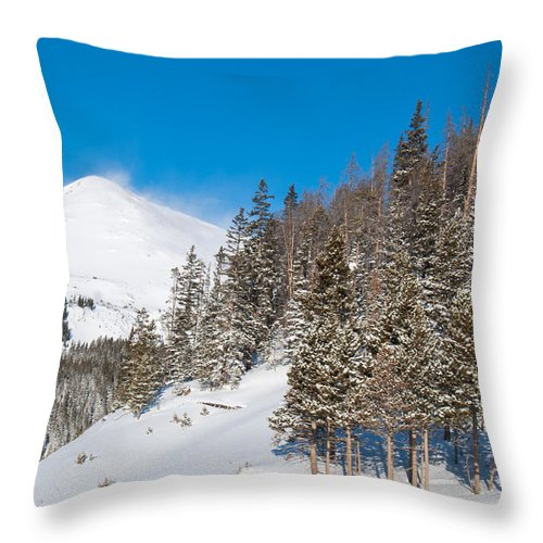Blue Throw Pillow featuring the photograph Blue And White Colorado Winter by Cascade Colors