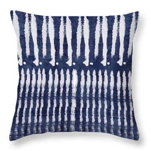 Blue Throw Pillow featuring the painting Blue and White Shibori Design by Linda Woods
