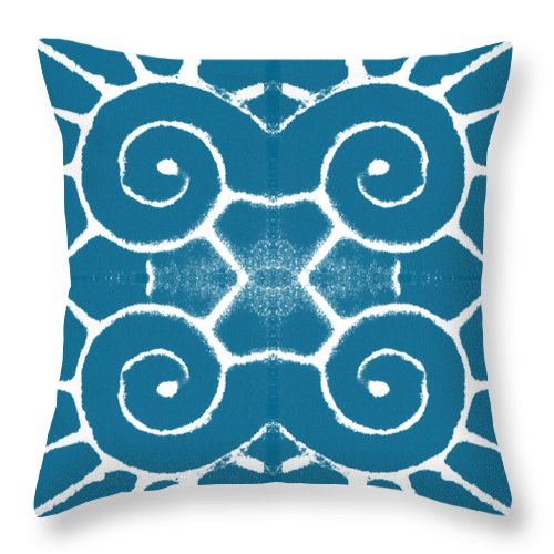 Wave Throw Pillow featuring the painting Blue and White Wave Tile- abstract art by Linda Woods