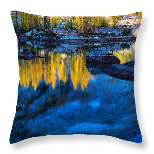 Alpine Lakes Wilderness Throw Pillow featuring the photograph Blue And Yellow by Inge Johnsson