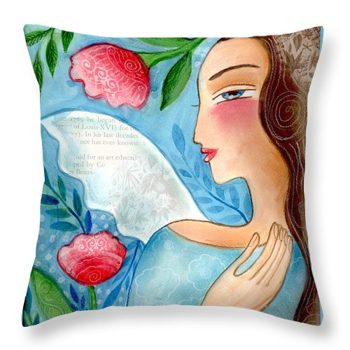 Angel Throw Pillow featuring the mixed media Blue Angel by Elaine Jackson