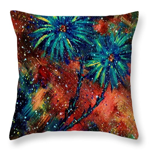 Flowers Throw Pillow featuring the painting Blue Asters by Robin Monroe