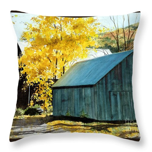 Blue Barn Throw Pillow featuring the painting Blue Barn by Barbara Jewell