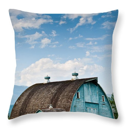 Agricultural Activity Throw Pillow featuring the photograph Blue Barn In The Stillaguamish Valley by Jeff Goulden