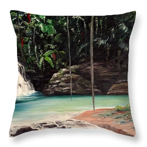 Tropical Waterfall Throw Pillow featuring the painting Blue Basin by Karin Dawn Kelshall- Best
