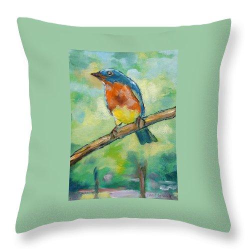 Blue Bird Throw Pillow featuring the painting Blue Bird 2 by Carol Jo Smidt