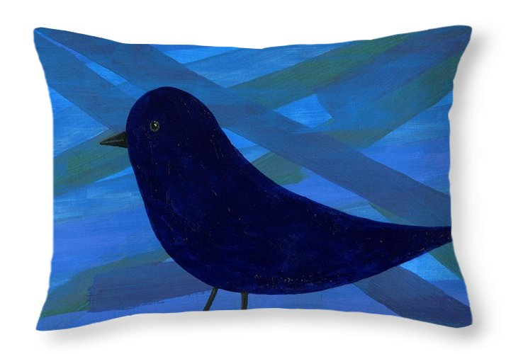Bird Throw Pillow featuring the painting Blue Bird by Anthea Karuna