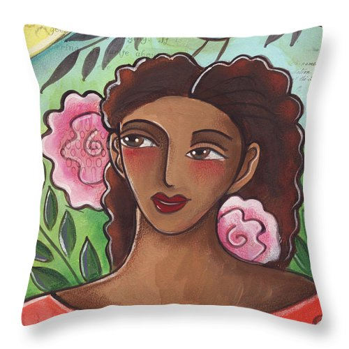 Woman Throw Pillow featuring the painting Blue Bird Of Happiness On My Head by Elaine Jackson