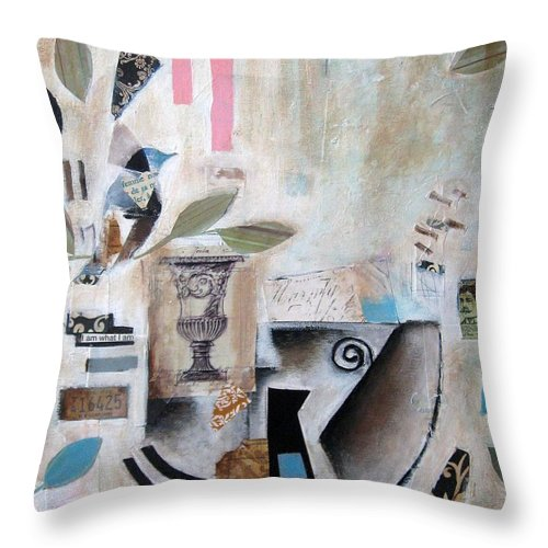 Abstract Throw Pillow featuring the painting Blue Bird by Venus