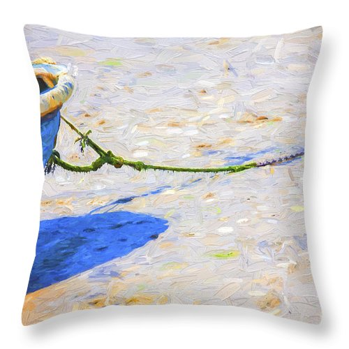 Abstract Throw Pillow featuring the photograph Blue boat on mudflat by Sheila Smart Fine Art Photography