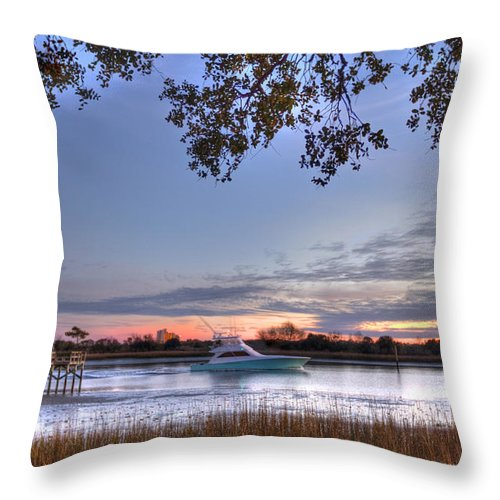 Oib Throw Pillow featuring the photograph Blue Boat Passing by Jackie Frick Smith