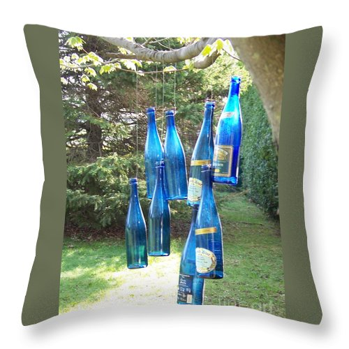 Trees Throw Pillow featuring the photograph Blue Bottle Tree by Jackie Mueller-Jones