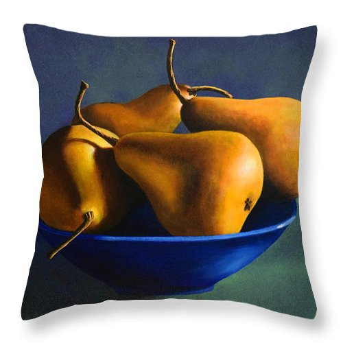 Still Life Throw Pillow featuring the painting Blue Bowl With Four Pears by Frank Wilson