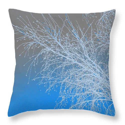 Blue Throw Pillow featuring the digital art Blue Branches by Carol Lynch