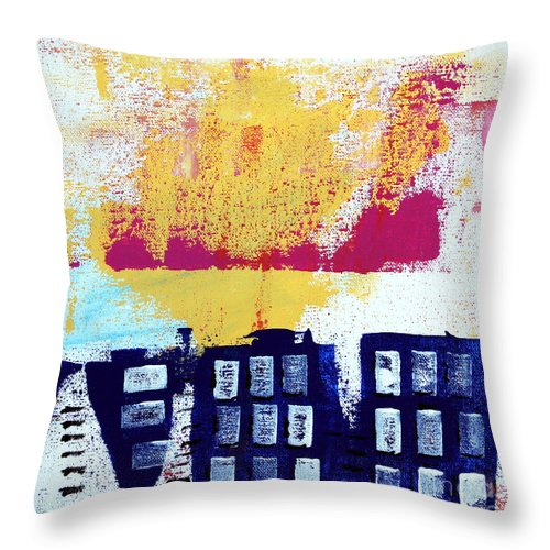 Abstract Urban Landscape Throw Pillow featuring the painting Blue Buildings by Linda Woods