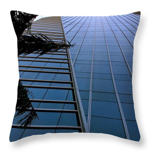 Business City Skyscraper Building Architecture Blue Throw Pillow featuring the photograph Blue Business by AR Annahita