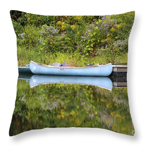 Pond Throw Pillow featuring the photograph Blue Canoe by Deborah Benoit