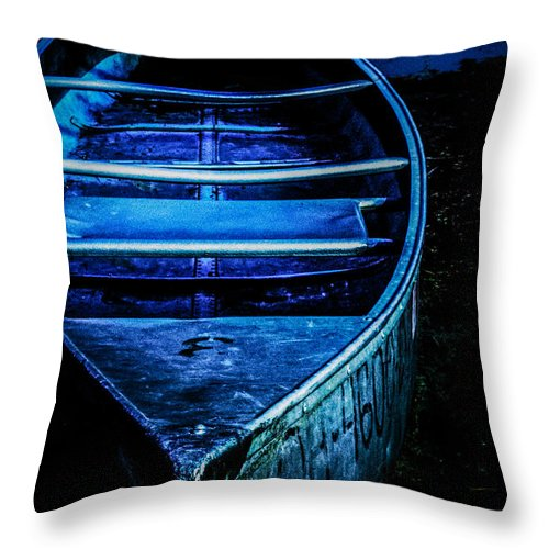 Canoe Throw Pillow featuring the photograph Blue Canoe by Michael Arend