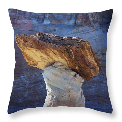 Nature Photography Throw Pillow featuring the photograph Blue Valley Hoodoo by Tom Daniel