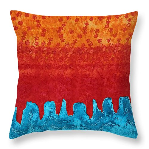 Canyon Throw Pillow featuring the painting Blue Canyon Original Painting by Sol Luckman