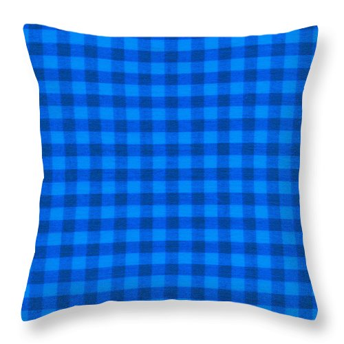 Fabric Background Throw Pillow featuring the photograph Blue Checkered Tablecloth Fabric Background by Keith Webber Jr